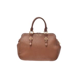 ミュウミュウ(Miu Miu) 2way handbag レザー バッグ ブラウン