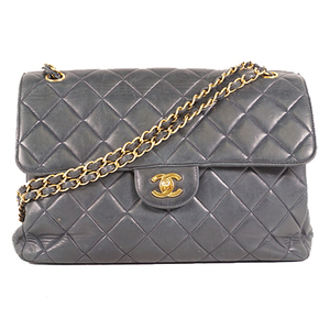 Chanel Matelasse  W Face W Chain Women's Leather Shoulder Bag Navy