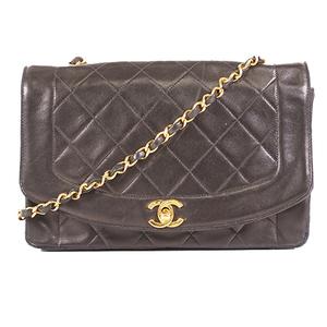 Chanel Matelasse Diana Flap Single Chain Shoulder Bag Women's Leather Shoulder Bag Black