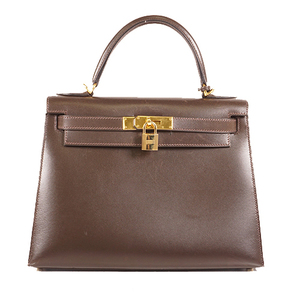 Hermes 2way bag Kelly28 □Dstamp Women's Box Calf Leather Handbag,Shoulder Bag Dark Brown