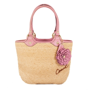 Auth Coach FL13373  Women's Leather,Straw Handbag Pink