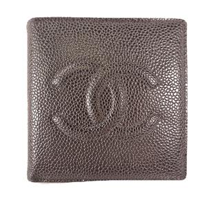 シャネル 二つ折り財布 キャビアスキン ブラック【中古】二つ折り財布 レディース