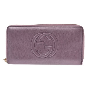 Gucci Inter Locking G Leather Wallet Purple