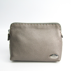 Fendi Selleria 8N0003 Women's Leather Pouch Silver