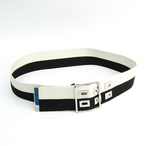 Balenciaga Stripe Belt 174291 Unisex Cotton Belt Black,Ivory,Silver 90