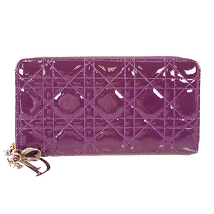 Auth Christian Dior Lady Dior Long Wallet