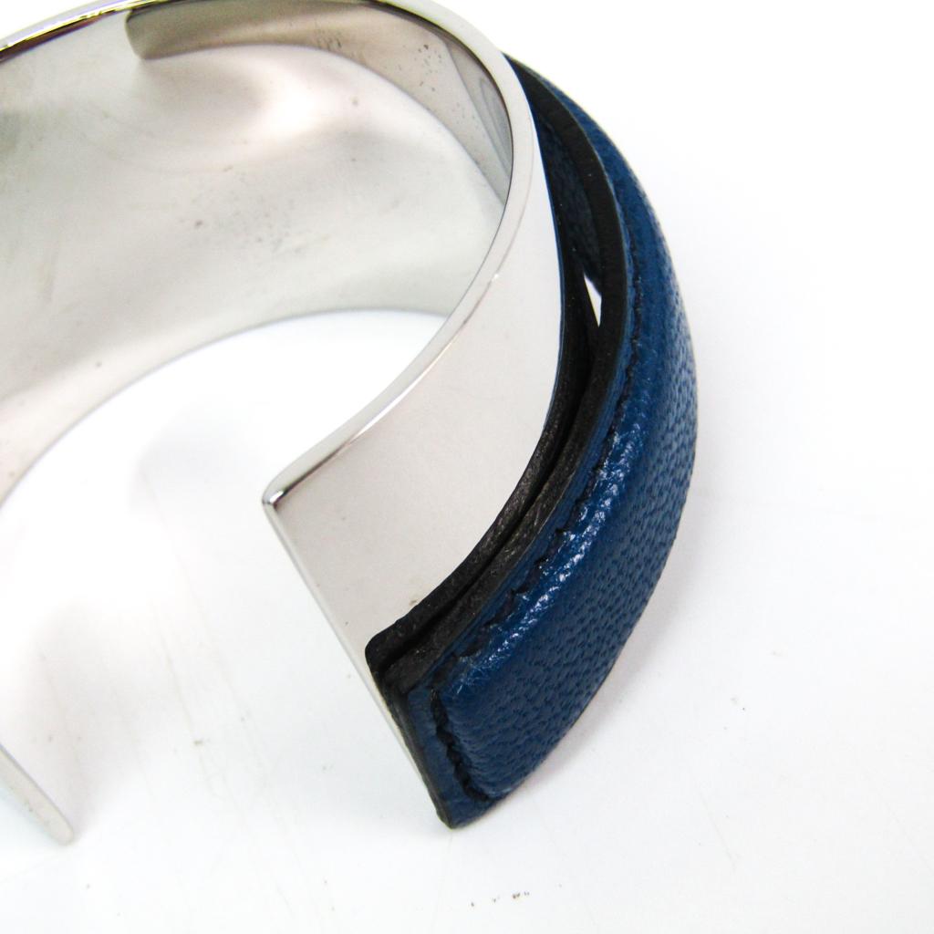 エルメス(Hermes) レザー,メタル カフ ブルー,シルバー