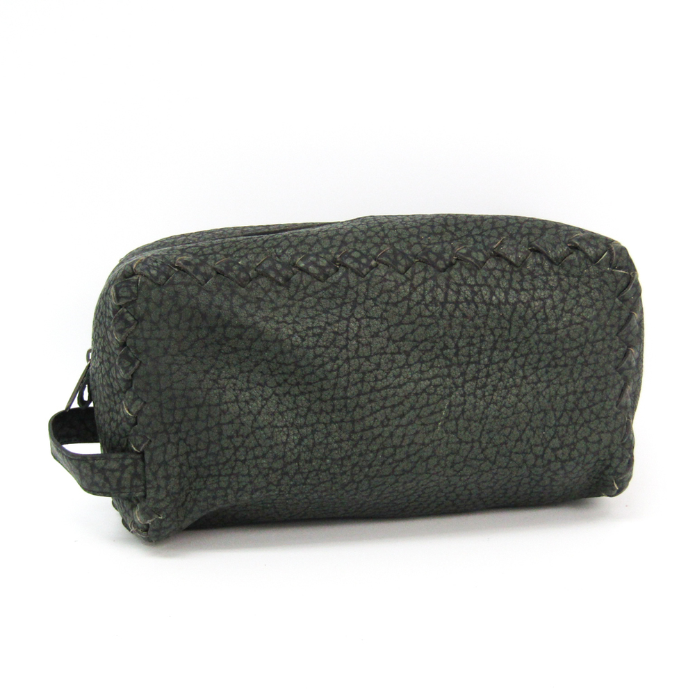 sale retailer 1c4f6 b3fc2 ボッテガ・ヴェネタ(Bottega Veneta) 174361 レザー クラッチバッグ モスグリーン | eLady.com