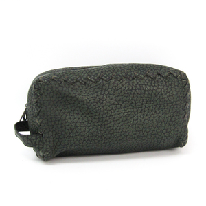 Bottega Veneta 174361 Leather Clutch Bag Moss Green