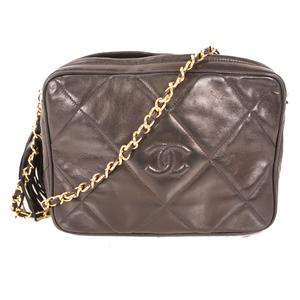 シャネル(Chanel) フリンジ付きチェーンショルダー  Chain shoulder with fringe レディース レザー ショルダーバッグ ブラック