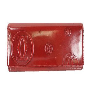 Cartier Happy Birthday Women's  Enamel Leather Long Wallet (bi-fold) Bordeaux