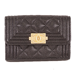 Auth Chanel Boy Chanel Wallet  Caviar Leather
