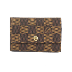 Louis Vuitton Damier N62630 Men's Leather Key Case Brown,Ebene
