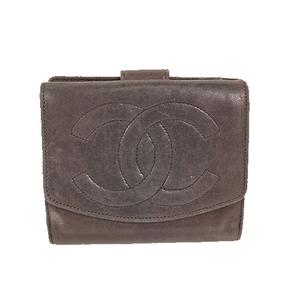 シャネル 二つ折り財布 ラムスキン ブラック ゴールド