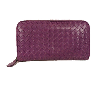 Bottega Veneta Intrecciato Unisex,Women,Men Leather Long Wallet (bi-fold) Purple