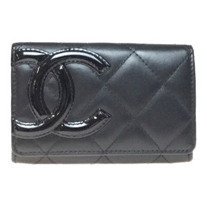 Chanel A50081 Leather Card Case Black/Pink Cambon Line