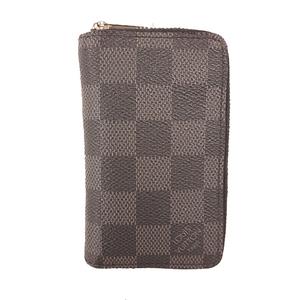 Louis Vuitton N63076 Men's Leather,Damier Canvas Coin Purse/coin Case Black,Gray