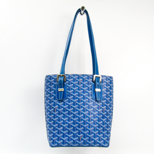 Goyard Marie Galante PM Women's Canvas,Leather Tote Bag Blue