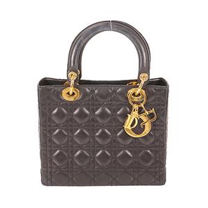 Auth Christian Dior Lady Dior Women's Leather Handbag Black
