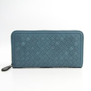 ボッテガ・ヴェネタ(Bottega Veneta) イントレチャート ユニセックス  カーフスキン 長財布(二つ折り) ダークブルー