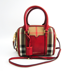 Burberry 3903919 Unisex Cotton Canvas Boston Bag Beige,Ivory,Red