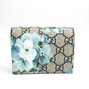 Gucci GG Blooms GUCCY Logo 524965 Leather GG Supreme Card Case Blue,Navy,White