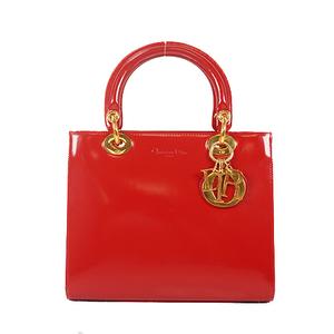 Christian Dior Lady Dior 2WAY HandBag Women's Leather Handbag,Shoulder Bag Red