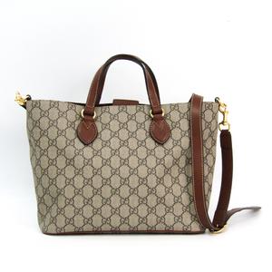 Gucci 473887 Women's GG Supreme,Leather Handbag Beige,Brown