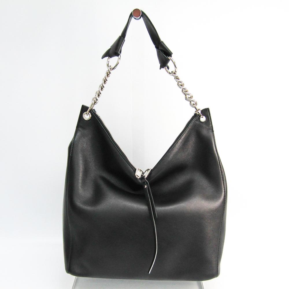 Jimmy Choo Unisex Leather Shoulder Bag Black