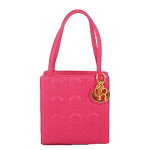 Christian Dior Canage Lady Dior Canarge Stitchhin Boston Women's Leather Handbag Pink