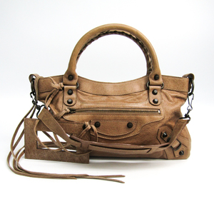 Balenciaga Fast 103208 Leather Shoulder Bag Beige