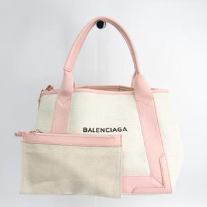 バレンシアガ(Balenciaga) ネイビーカバスS 339933 ユニセックス キャンバス,レザー トートバッグ アイボリー,ピンク