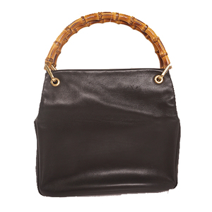 Gucci Bamboo Hand Bag 000.0166.0580 Women's Leather Handbag Black