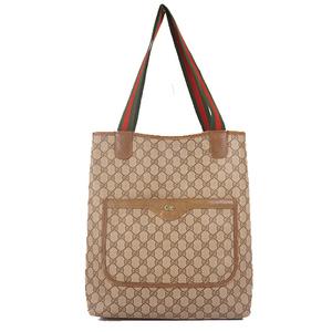 Auth Gucci Tote Bag Sherry Line GG Supreme Beige