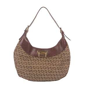 Fendi Zucchino Shoulder Bag Women's Canvas Shoulder Bag Beige