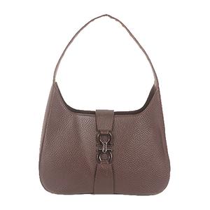 Salvatore Ferragamo Gancini Shoulder Bag Women's Leather Shoulder Bag Dark Brown