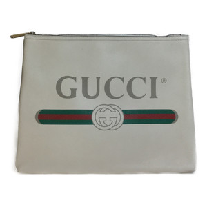 Gucci Portfolio 500981 Leather Clutch Bag Ivory