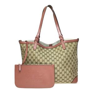 Gucci GG Canvas 247209 Diamante Canvas Tote Bag Beige/Beige Pink
