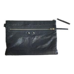Balenciaga Classic Clip M 273022 Leather Clutch Bag Dark Gray