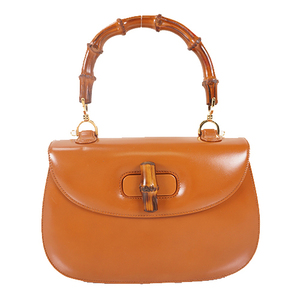 Auth Gucci Bamboo Handbag 000.1227 Brown