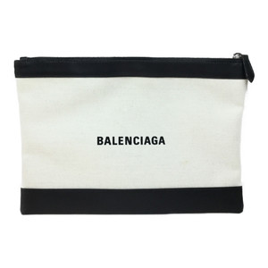 バレンシアガ(Balenciaga) ネイビークリップM 373834 レザー,キャンバス クラッチバッグ ブラック,アイボリー