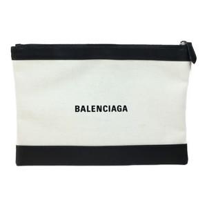 Balenciaga Navy Clip M 373834 Leather/Canvas Clutch Bag Black/Ivory