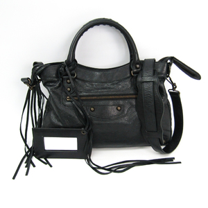 Balenciaga Town 240579 Women's Leather Handbag Black