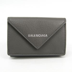 バレンシアガ(Balenciaga) ペーパー ミニウォレット 391446 レディース レザー 財布(三つ折り) グレー