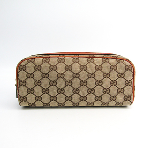Gucci 120977 Unisex Leather,GG Canvas Pouch Beige,Dark Orange