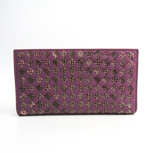 ボッテガ・ヴェネタ(Bottega Veneta) イントレチャート  ラムスキン 長財布(二つ折り) パープル