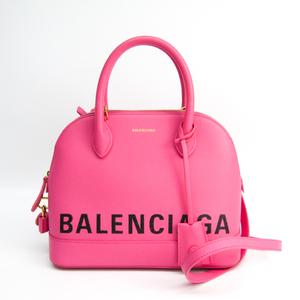 Balenciaga Ville Top Handle S 518873 Women's Leather Handbag Black,Pink