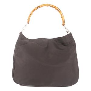 Gucci Bamboo  Shoulder Bag 001.2123 Women's Nylon Shoulder Bag Black