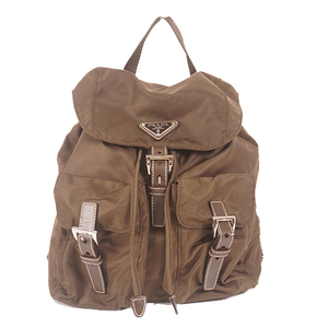 Prada Rucksack Women's Nylon,Leather Backpack Khaki