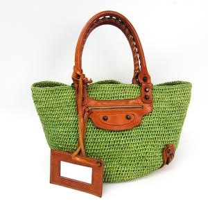 Balenciaga Raffia 236741 Straw Handbag Brown,Green